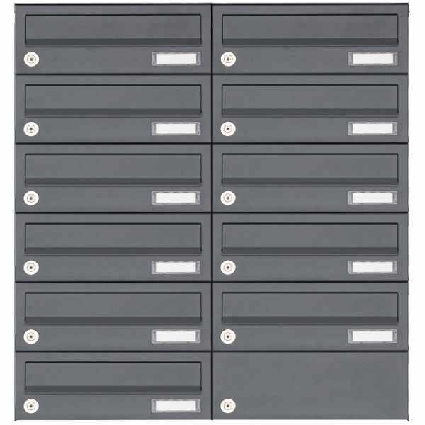 11er 6x2 Aufputz Briefkastenanlage Design BASIC 385A AP - RAL 7016 anthrazitgrau
