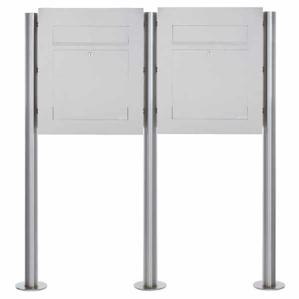 2er Edelstahl Standbriefkasten DESIGNER Style BIG ST-R
