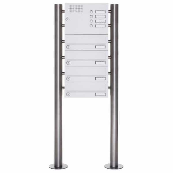 4er Standbriefkasten Design BASIC 385-9016 ST-R mit Klingelkasten - RAL 9016 verkehrsweiß