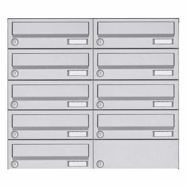 9er 5x2 Aufputz Briefkastenanlage Design BASIC 385A AP - Edelstahl V2A, geschliffen