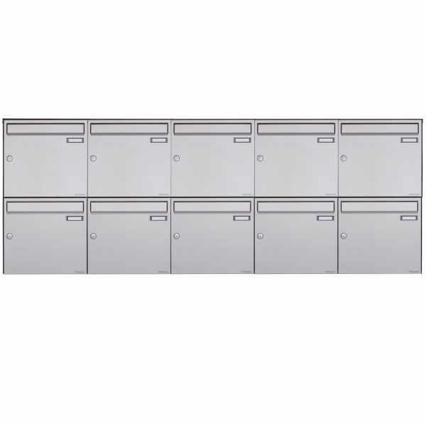 10er 2x5 Edelstahl Aufputz Briefkasten Design BASIC Plus 382XA AP - Edelstahl V2A geschliffen