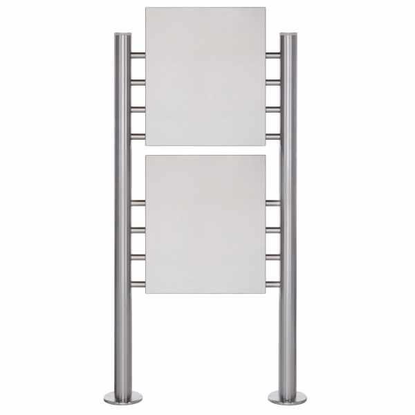 Schild freistehend BASIC 390ES - Edelstahl Standelemente - 2x Edelstahlblech 400x457 einseitig