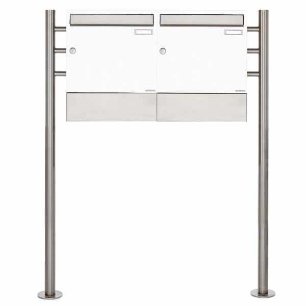2er 1x2 Standbriefkasten Design BASIC 381 ST-R mit Zeitungsfächer - RAL 9016 verkehrsweiß