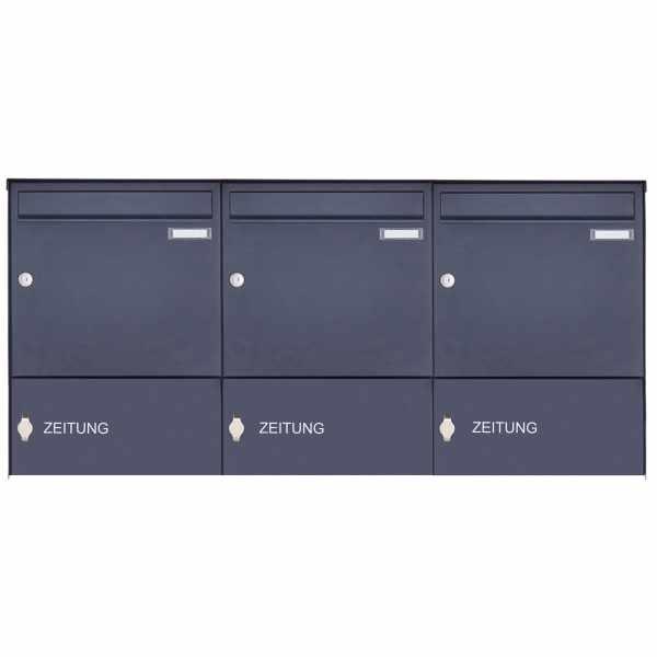 3er Edelstahl Aufputz Briefkasten Design BASIC Plus 382XA AP mit 3x Zeitungsfach - RAL nach Wahl