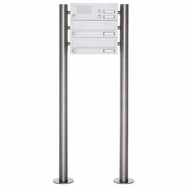 2er Standbriefkasten Design BASIC 385-9016 ST-R mit Klingelkasten - RAL 9016 verkehrsweiß