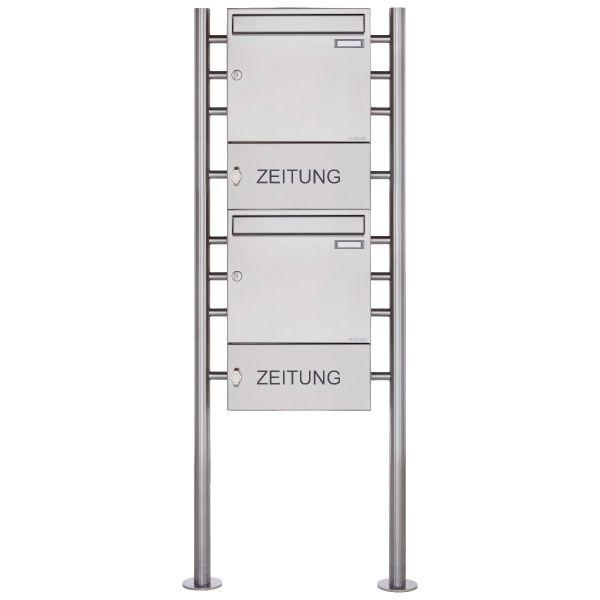 2er 2x1 Edelstahl Standbriefkasten Design BASIC 381 ST-R mit Zeitungsfach geschlossen