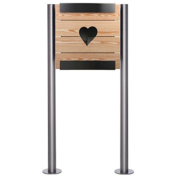 Design Standriefkasten KEILBACH glasnost wood learch heart ST-R aus Edelstahl & geölten Lärchenholz
