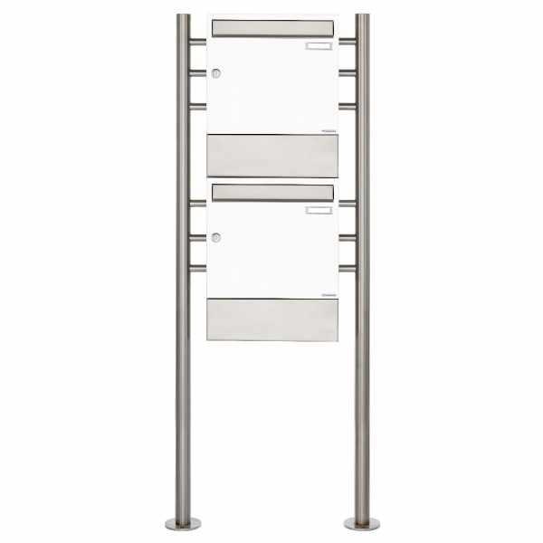 2er 2x1 Standbriefkasten Design BASIC 381 ST-R mit Zeitungsfächer - RAL 9016 verkehrsweiß