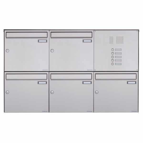 5er Edelstahl Aufputz Briefkasten Design BASIC Plus 382XA AP mit Klingelkasten - Edelstahl V2A