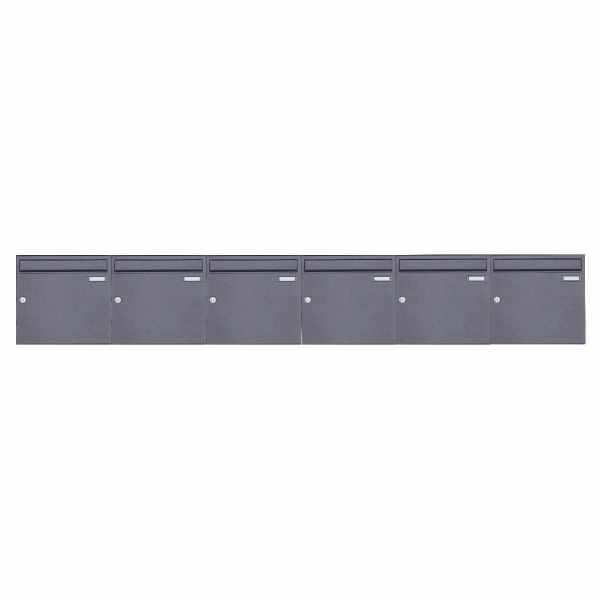 6er 1x6 Aufputz Briefkastenanlage Design BASIC 382A AP - DB703 eisenglimmer