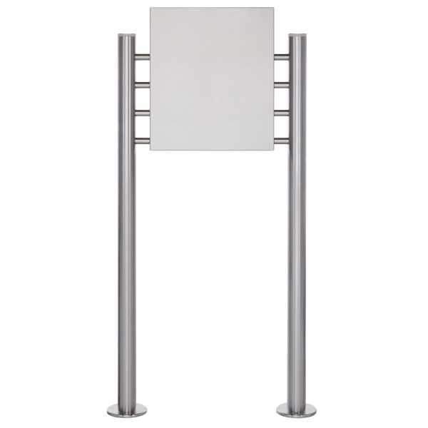 Schild freistehend BASIC 390ES - Edelstahl Standelemente - Edelstahlblech 400x457 einseitig