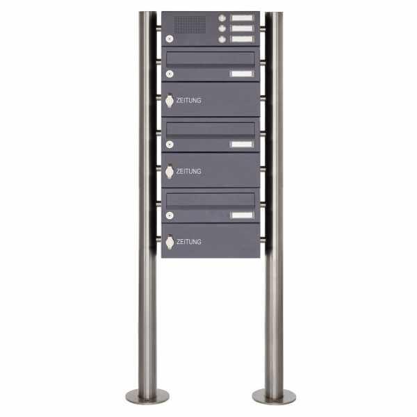 3er Edelstahl Standbriefkasten BASIC Plus 385X ST-R mit Klingelkasten & Zeitungsfach - RAL nach Wahl