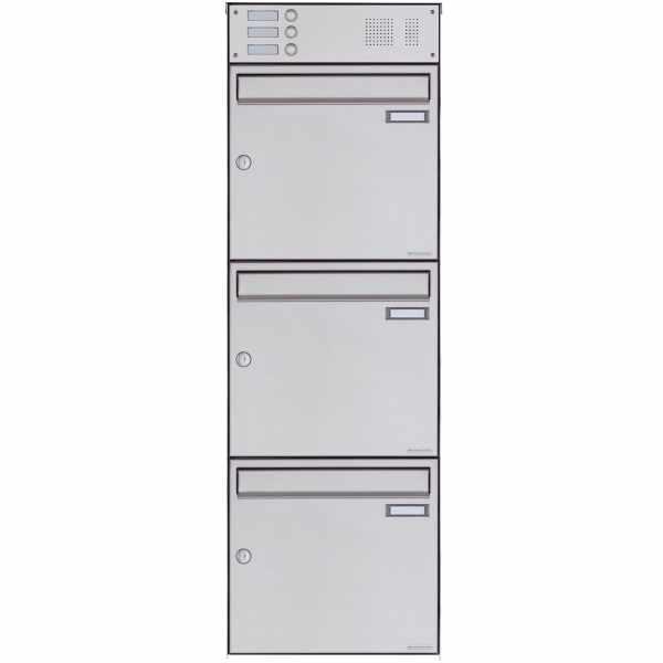 3er Edelstahl Aufputz Briefkasten Design BASIC Plus 382XA AP mit Klingelkasten - Edelstahl V2A
