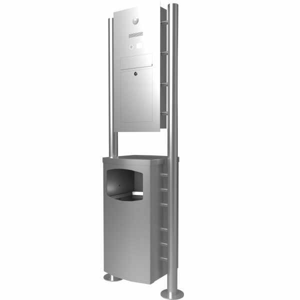 Edelstahl Standbriefkasten Designer Modell ST-R mit Abfallbehälter - Clean Edition - INDIVIDUELL