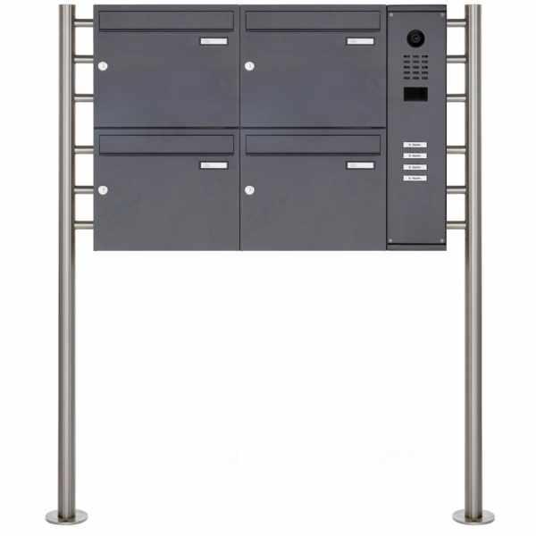 4er Standbriefkasten BASIC Plus 593R ST-R mit DoorBird D2100E Video- Sprechanlage - RAL nach Wahl