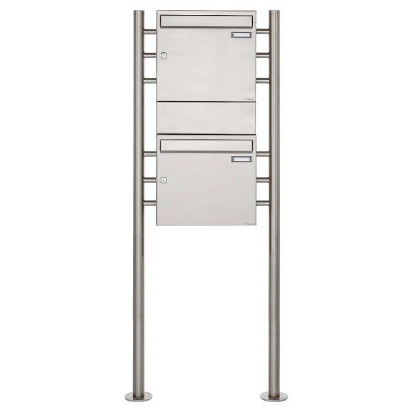 2er 2x1 Edelstahl Standbriefkasten Design BASIC 381 ST-R mit 1x Zeitungsfach