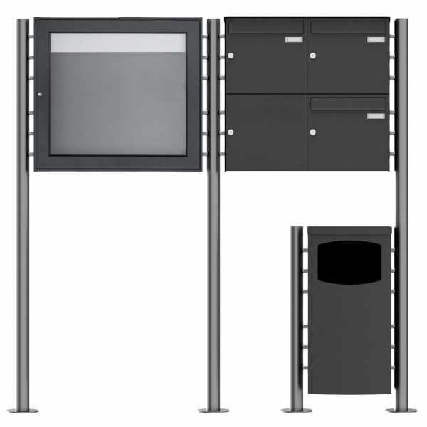 3er 2x2 Standbriefkasten Design BASIC Plus 381X ST-R mit Abfallbehälter & Schaukasten - RAL Farbe