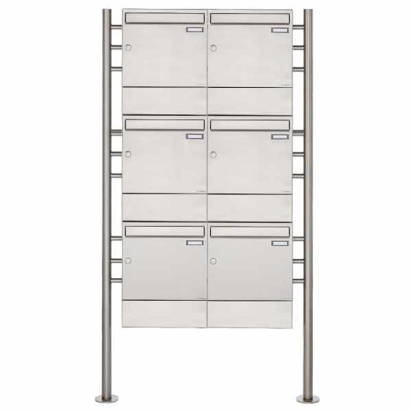 6er 3x2 Edelstahl Standbriefkasten Design BASIC 381 ST-R mit Zeitungsfächer