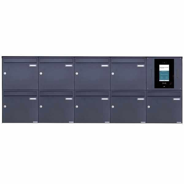 9er 5x2 Edelstahl Aufputzbriefkasten BASIC Plus 382XA AP - RAL - STR Digitale Türstation Komplettset