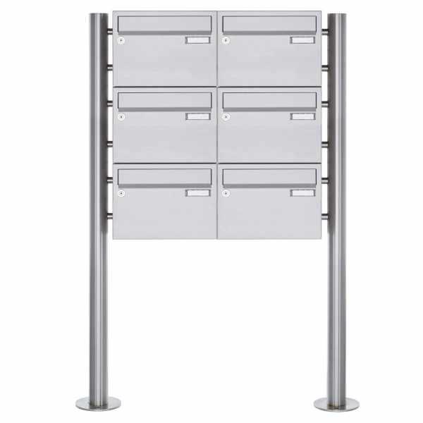 6er 3x2 Edelstahl Standbriefkasten Design BASIC Plus 385XR220 ST-R - Edelstahl V2A
