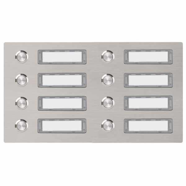 Edelstahl Klingelplatte 300x155 BASIC 422 mit Namensschild - 8 Parteien