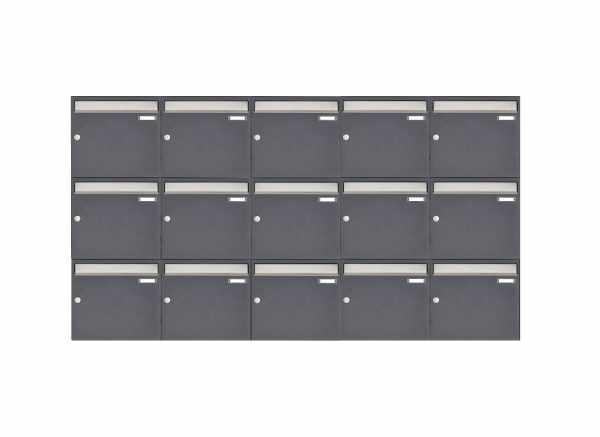 15er 3x5 Aufputz Briefkastenanlage Design BASIC 382 AP - Edelstahl-RAL 7016 anthrazitgrau