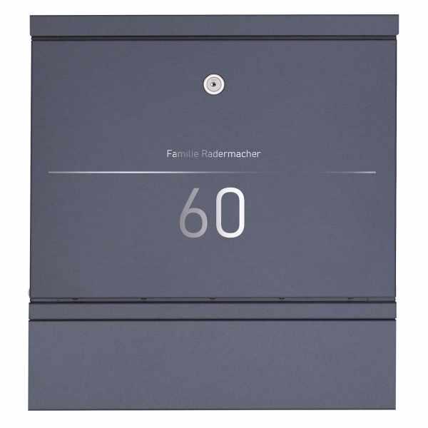 Edelstahl Design Briefkasten BRECHT Elegance I - Zeitungsfach - Hausnummer - Name - RAL nach Wahl