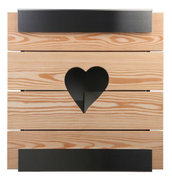 Briefkasten KEILBACH glasnost wood learch heart aus Edelstahl gebürstet & geölten Lärchenholz