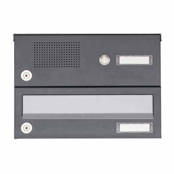 1er Aufputz Briefkastenanlage Design BASIC 385A AP mit Klingelkasten - Edelstahl-RAL 7016 anthrazit