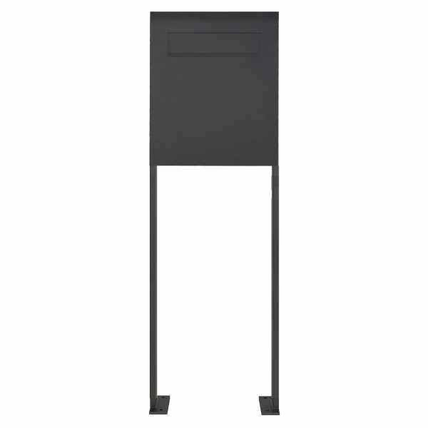 Edelstahl Standbriefkasten als Zaunbriefkasten DESIGNER Style BIG ST-P - RAL - Entnahme rückseitig