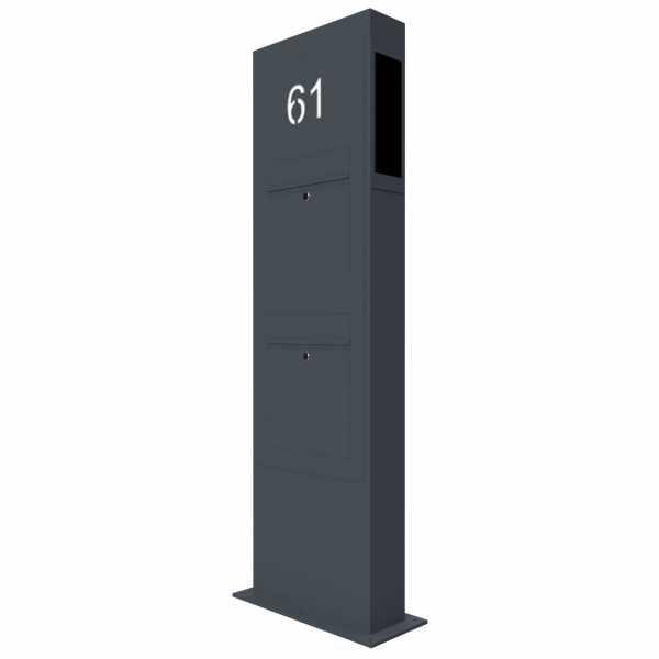 2er Briefkastensäule Designer BIG - GIRA System 106 - 3-fach vorbereitet - Hausnummer - RAL Farbe