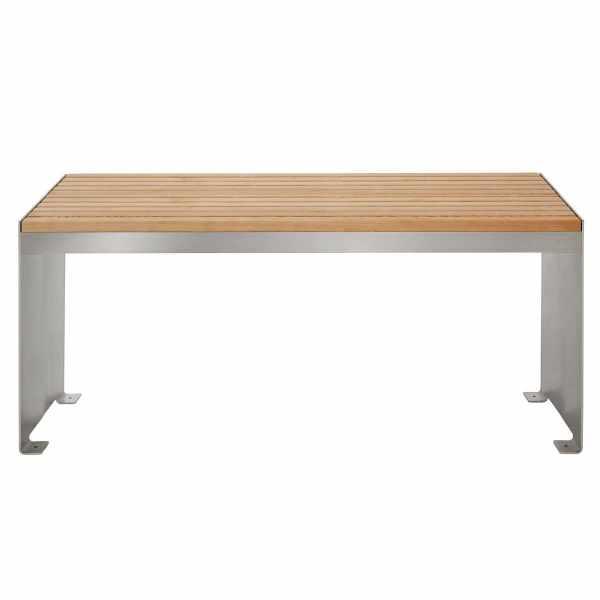 Design Tisch NOVALIS - Edelstahl - Lärche geölt