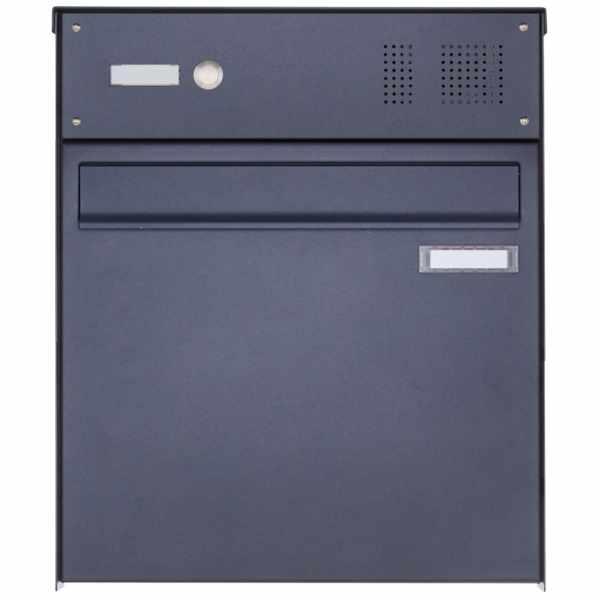 Edelstahl Zaunbriefkasten BASIC Plus 382XZ mit Klingelkasten - RAL nach Wahl - Entnahme rückseitig