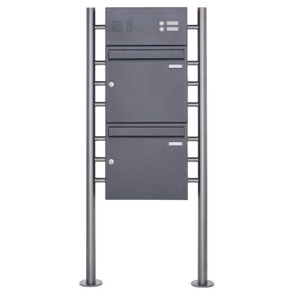 2er Standbriefkasten Design BASIC 381 ST-R mit Klingelkasten - DB703 eisenglimmer