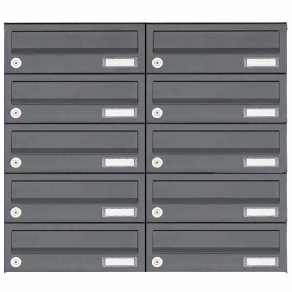 10er 5x2 Aufputz Briefkastenanlage Design BASIC 385A AP - RAL 7016 anthrazitgrau