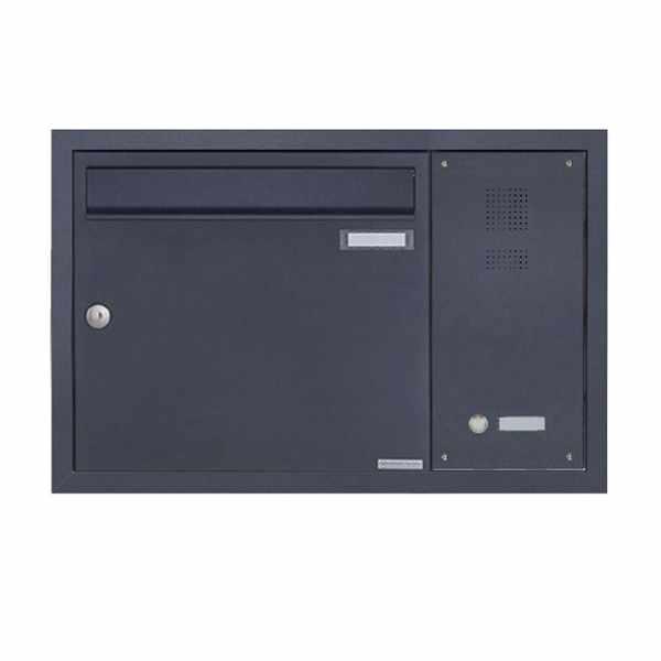 Edelstahl Unterputzbriefkasten BASIC Plus 382XU UP mit Klingelkasten seitlich - RAL nach Wahl
