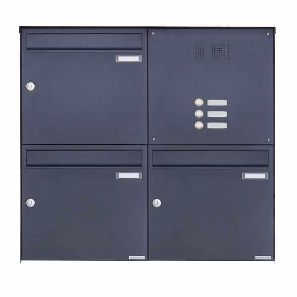 3er 2x2 Edelstahl Aufputz Briefkasten Design BASIC Plus 382XA AP mit Klingelkasten - RAL nach Wahl