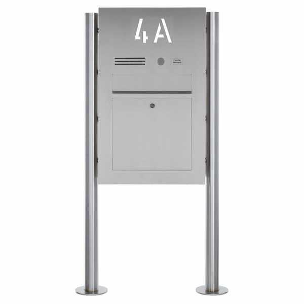 Edelstahl Standbriefkasten Designer BIG ST-R - Hausnummer hinterbeleuchtet - INDIVIDUELL