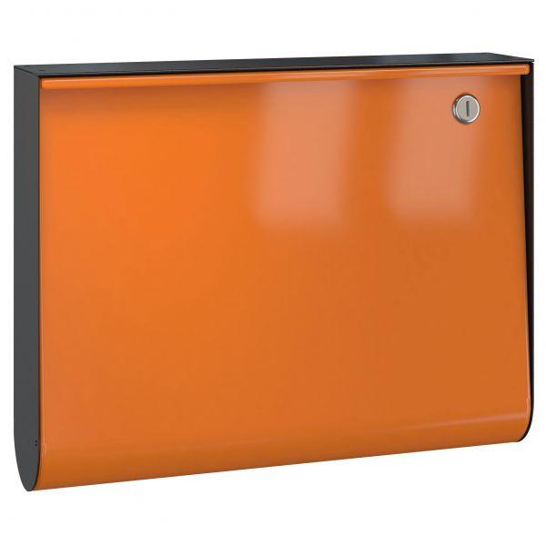 Briefkasten U-Box - RAL 2011 tieforange - Korpus schwarz