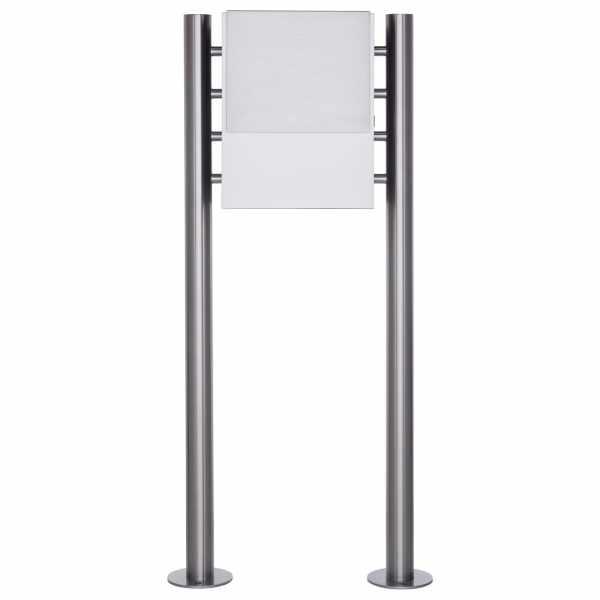 Design Standbriefkasten KANT mit innenliegendem Zeitungsfach - Edelstahl-RAL 9016 verkehrsweiß