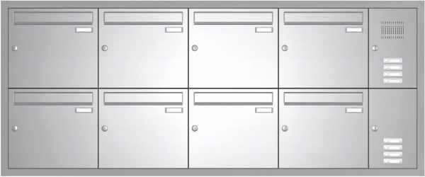 Edelstahl Unterputz Briefkastenanlage BASIC 534-UP - Klingel- Sprechstelle - 8 Parteien