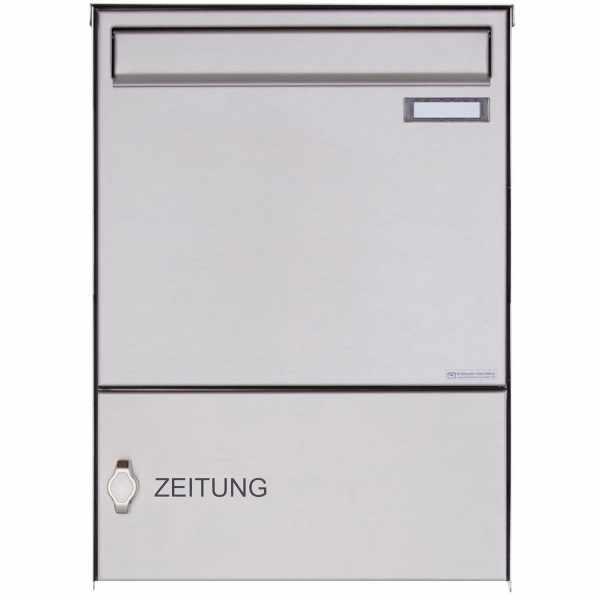 Edelstahl Zaunbriefkasten BASIC Plus 382XZ mit Zeitungsfach - Entnahme rückseitig