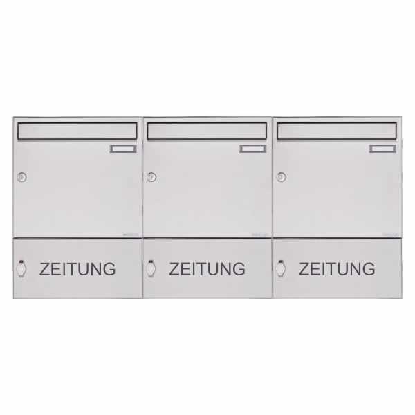 3er Edelstahl Aufputz Briefkasten Design BASIC 382A AP mit Zeitungsfach geschlossen