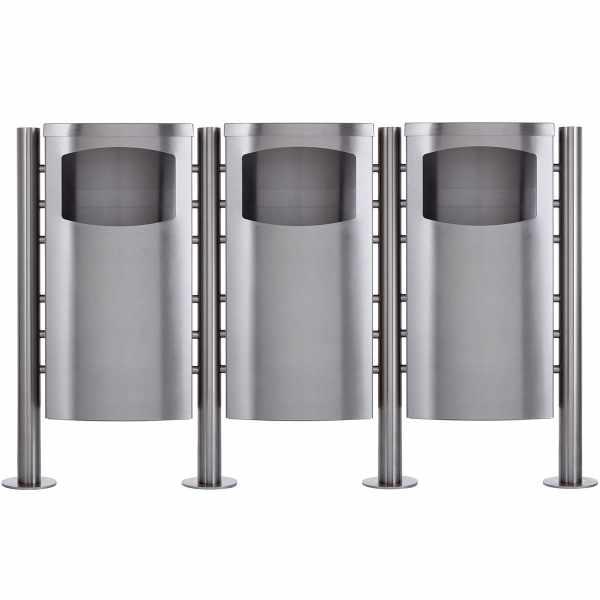 3-fach Abfalleimer - Abfallbehälter Design BASIC 650X ST-R - 45 Liter - Edelstahl geschliffen