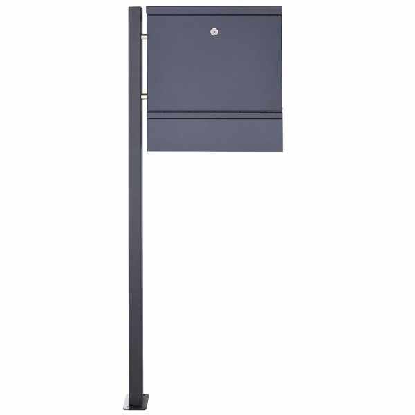 1 Säulen Edelstahl Standbriefkasten BRECHT ST-BP mit Zeitungsfach - RAL nach Wahl
