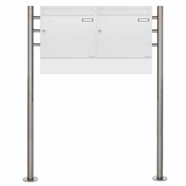2er Standbriefkasten Design BASIC 381 ST-R Waagerecht mit Zeitungsfächer - RAL 9016 verkehrsweiß