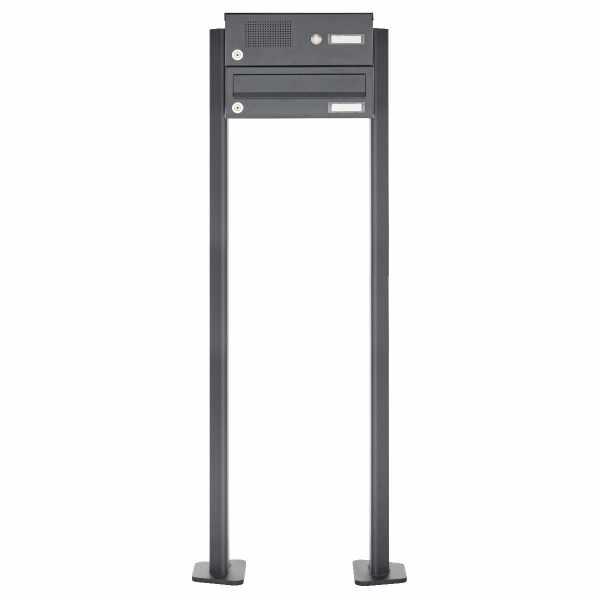 1er Edelstahl Standbriefkasten Design BASIC Plus 385 XP SP mit Klingelkasten - RAL nach Wahl