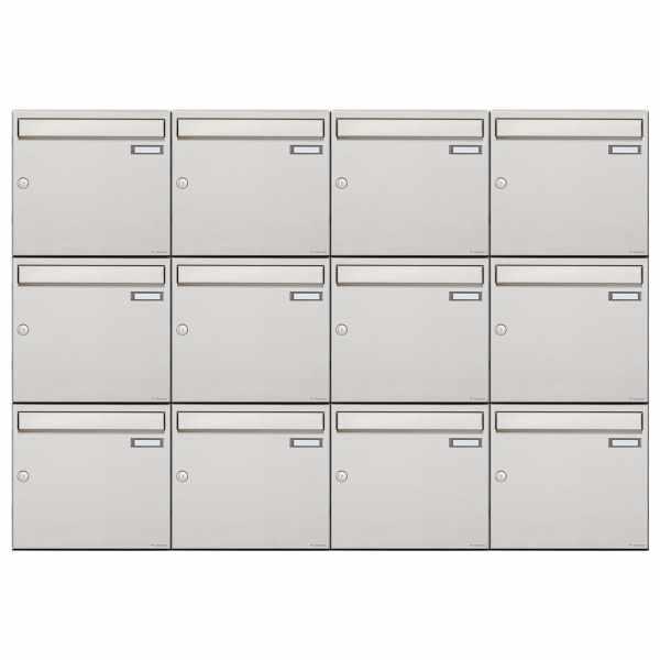 12er 3x4 Edelstahl Aufputz Briefkastenanlage Design BASIC 382A-AP