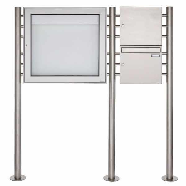 Standbriefkastenanlage mit Schaukasten BASIC 3894 ST-R - 710x660 - Edelstahl Standelemente