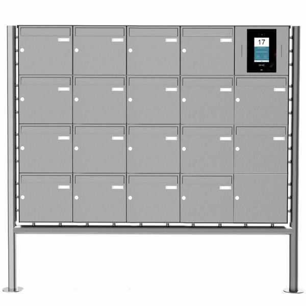 18er Edelstahl Standbriefkasten BASIC Plus 381X ST-R - STR Digitale Türstation - Komplettset